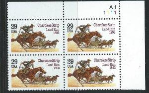 US #2754 $.29 Cherokee Strip Plate Block of 4 (MNH) CV$2.50