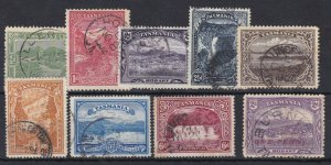 T100) Tasmania 1899-1912 Pictorials simplified set of 8 plus ONE PENNY on 2d sur