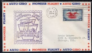 US Experimental Route 2001 Camden,NJ to Philadelphia,PA 1939 First Flight Cover