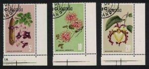 Uganda Flowers 3v The highest values Corners 1969 CTO SG#143-145