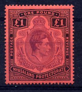 Nyasaland 1938 SG 143 £1 purple & black / red, fine mint
