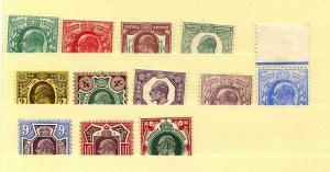 HERRICKSTAMP GREAT BRITAIN Sc.# 127-38 King Edward VII Fresh NH