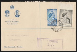 BASUTOLAND : 1948 KGVI Silver Wedding set Registered FDC cover. To South Africa.