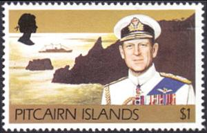 Pitcairn Islands # 172 mnh ~ $1 Prince Philip and Britania