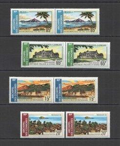 NW0318 1971 COMOROS NATURE ARCHITECTURE ISLANDS MICHEL #119-22 26 EURO 2SET MNH