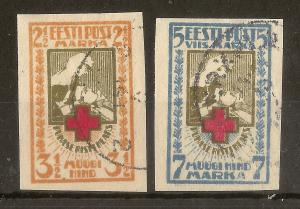 Estonia 1921 Red Cross Imperfs SG31A-32A Fine Used