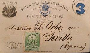 O) 1990 PERU, MANCO CAPAC, FOUNDER OF INCA DYNASTY, NUMERAL 3c POSTAL STATIONE