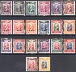 Sarawak 1945 1c-$10 Brooke BMA Scott 135-154 SG 126-145 MLH Cat £550($770)