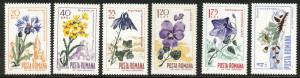 ROMANIA Scott 1925-30 MNH** Flower set  of 1967