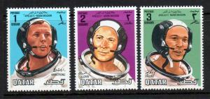 Qatar Scott 190-92!  Astronauts! Moon Mission! MNH!