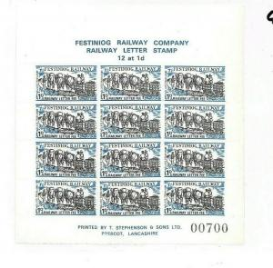 GB WALES Railway Stamps Block of 12 Festiniog Railway{samwells} GG249