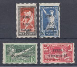 Syria Sc 133-136 MLH. 1924 Olympics, black overprints on stamps of France, F-VF