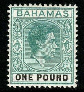 BAHAMAS SG157 1938 £1 DEEP GREY-GREEN & BLACK THICK PAPER MTD MINT