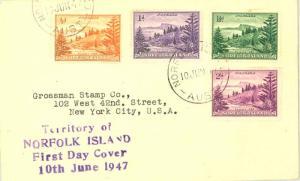 Norfolk Islands 1/2d, 1d, 1 1/2d and 2d View of Ball Bay 1947 Norfolk Island,...