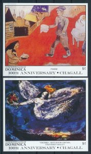 [105798] Dominica 1987 Art paintings Chagall 2 Souv. Sheets MNH
