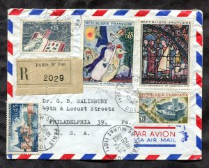 d10 - FRANCE 1963 Registered Cover to USA. Nice Franking