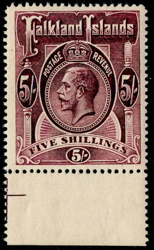FALKLAND ISLANDS SG67b, 5s maroon NH MINT. Cat £130.