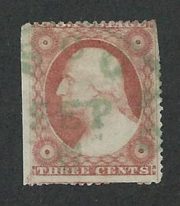 26 Used, 3c. Washington,  Green Cancellation, SCV $21+150