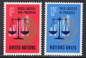 United Nations  New York  #213-214  1970  MNH  anniversary