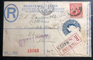 1915 Trinidad & Tobago Registered Letter Stationery Cover To Chicago IL USA