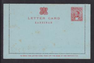 Zanzibar H&G A3a unused 1913 6c carmine on blue Postal Letter Card, age spots