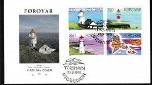 Faroe Island 1985 LIGHTHOUSES (4) on FDC Color Cachet Unaddressed Scott 130-133