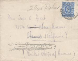 East Africa & Uganda, Scott #45 on 1920 Forwarded Cover, Sent to California