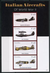 Tuvalu Aviation Stamps 2015 MNH WWII WW2 Italian Aircrafts World War II 4v M/S