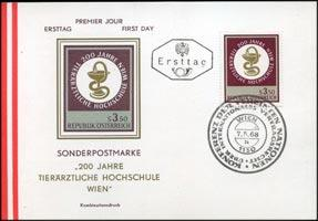 AUSTRIA 1968 - First Day Card-810 Veterinary College(WE193)