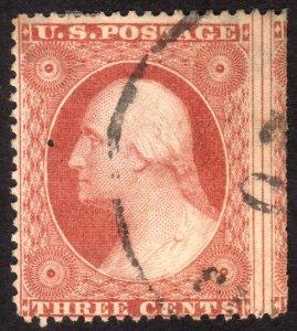 1857, US 3c, Washington, Used, Miscut right, Sc 26
