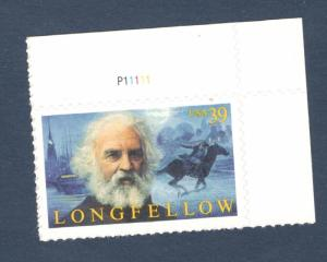 4124 Henry Longfellow US Single W/Plate Number Mint/nh (Free Shipping)