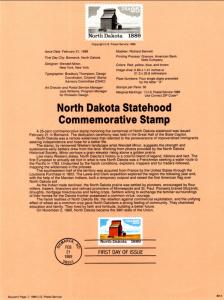 US SP844 North Dakota Statehood 2403 Souvenir Page FDC
