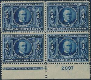 #326 PLATE BLOCK OF 4 IMPRINT FINE OG NH CV $1150.00 HV1615
