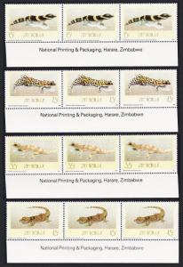 Zimbabwe Geckos 4v Strips of 3 with Imprint SG#746-749 SC#578-581