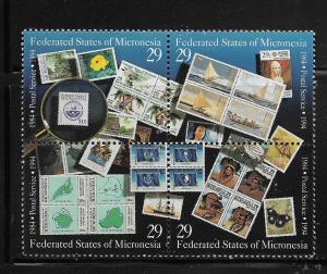 MICRONESIA, 198, MNH, BLOCK OF 4, POSTAL SERVICE