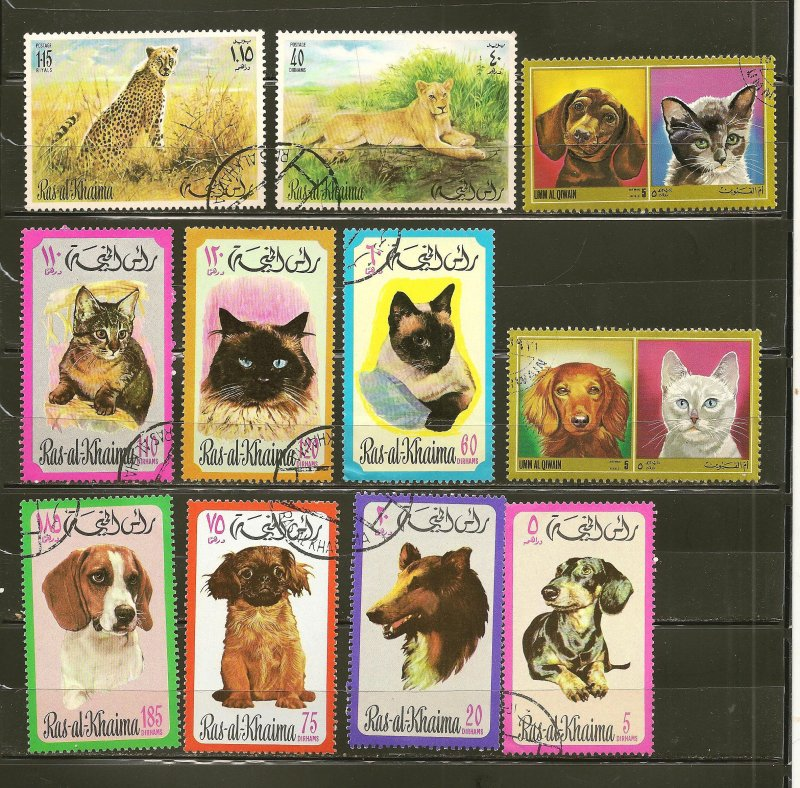 Ras al Khaima Collection of 11 Different 1960's-1970's Dog & Cat Stamps CTO
