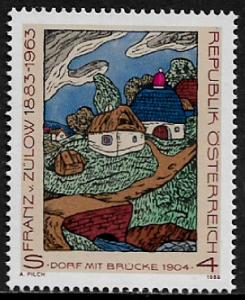 Austria #1420 MNH Stamp - Village With Bridge Painting
