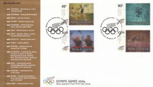 New Zealand 2004 FDC Summer Olympic Games Athens Set of 4 Action Replay Stamps