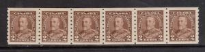 Canada #229 VF/NH Strip Of Six