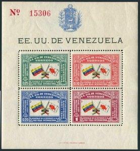 Venezuela 388 sheet,MNH.Michel Bl.1. International Red Cross, 80th Ann.1944.
