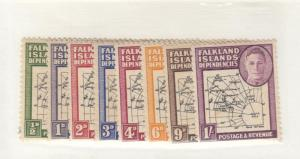 FALKLAND ISLANDS # IL1-IL8 MH 1/2-4,6,9p,1sh 1948 DEPENDENCIES MAP CAT VAL $17