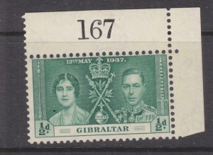 GIBRALTAR, 1937 Coronation, 1/2d. Green, Sheet # 167, mnh., lhm. in margin.
