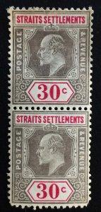 Malaya Straits Settlements 1905.KE VII 30c 2V Block MCCA MLH SG#134 CV£100 M1869