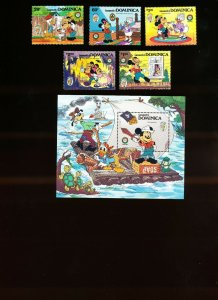 DOMINICA - Scott 919-924  VFMNH - DISNEY - Tom Sawyer - 1985