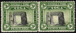 Tonga 1942 Sg78 3d Black & Yellow-green Wmk MSCA Pair MNH