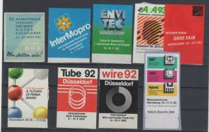 Germany Assortment of 9 Technology Expo Stamps Dusseldorf & Nurnberg