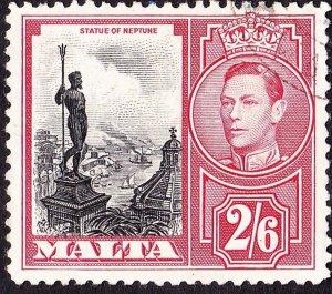 MALTA 1938 KGVI 2/6 Black & Scarlet SG226 FU