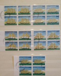 Republique du Benin 1997 Sailing Ships Blocks of 4 Boats Nautical