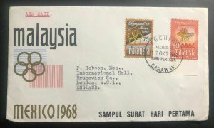 1968 Kuching Sarawak Malaysia First Day Cover FDC To England Mexico Olympics