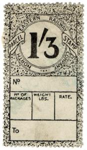 (I.B) North Eastern Railway : Parcel Stamp 1/3d